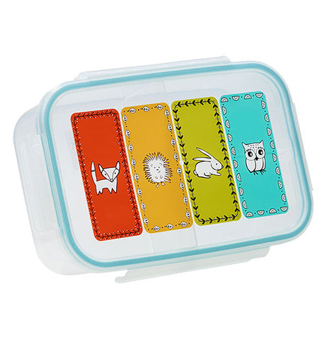 Meadow friends bento box with four rectangular colors with animals of a fox in red, a porcupine in orange, a rabbit in light green and an owl in turquoise.
