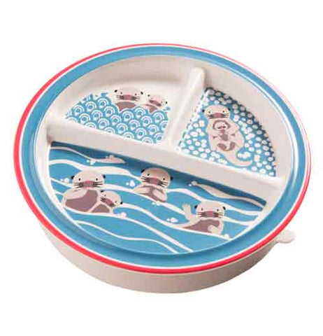 "The ""Baby Otter"" suction baby plate features momma otters swimming in the water with their pups."