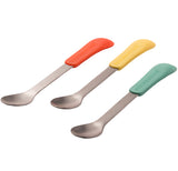 A set of three steel spoons are shown with different colored silicone handles. The first handle is orange, the second is yellow, and the third is teal green.