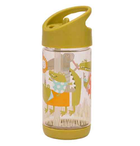 This drinking bottle is shown with a green colored lid and bottom with an illustration of alligators all around it.