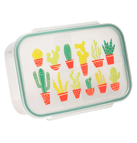 This small transparent lunch box has different colored cactuses covering its lid.