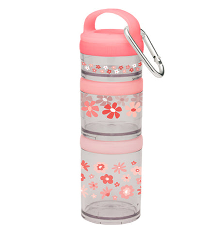 three clear stackable containers with pictures of different colored flowers with a removable clip