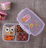 The lunch box with the owl design lid is shown with an owl-shaped sandwich, some pretzels, carrot sticks, and grapes inside it.