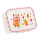 This owl lunchbox has pink, yellow and orange owls on it the box is translucent with a pink rim around the edge.