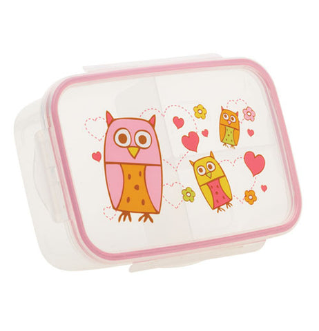 This owl lunchbox has pink, yellow and orange owls on it the box is translucent with a pink rim around the edge
