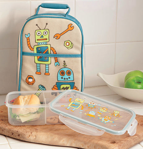 The robot lunch box is shown with a sandwich in it, sitting next to a matching lunch bag.
