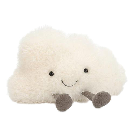 This stuffed toy is shaped like a fluffy cloud with legs and a smiley face.