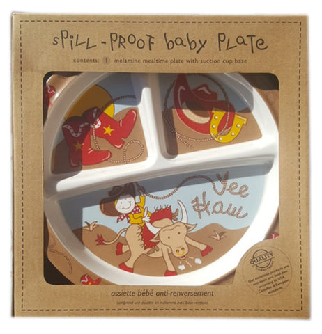 The baby plate with cowboys on it is shown within its cardboard packaging.