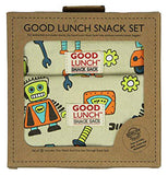 "The two snack sacks with robot designs on them are shown in their packaging. At the top, in black lettering, are the words, ""Good Lunch Snack Set""."