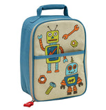 This blue and white backpack has a design of retro robots on it with nuts, bolts, and wrenches.