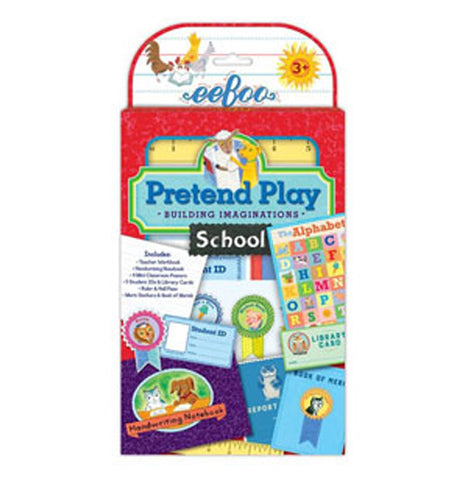 the pretend play package shows some of the items included in the set such as ribbons, student id, classroom poster, and library card