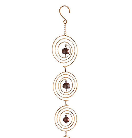 Bells in the middle of spirals on a chain with a hook on a white background.