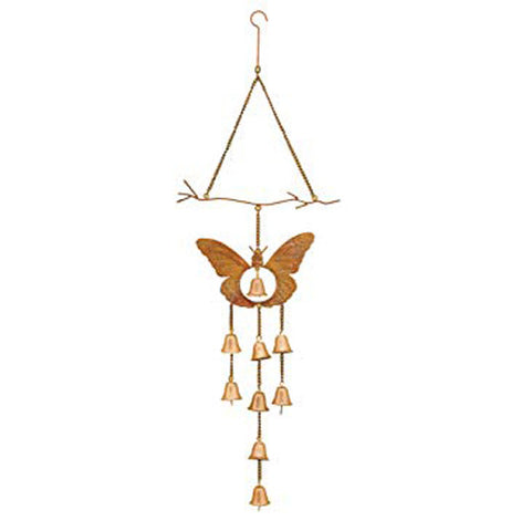 This butterfly wind chime has a bell hanging in the center of a bronze butterfly with 8 bells hanging down on chains.