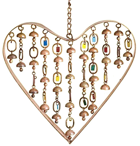 This heart-shaped wind chime has small yellow, blue, copper, and red bells within it.