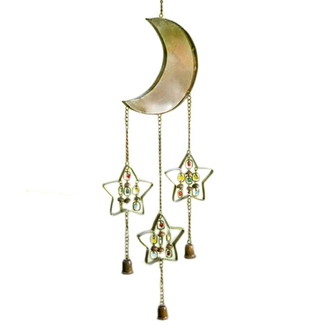 This Wind Chime features the Moon with three stars with colorful bells hanging down with colorful gems hanging down.
