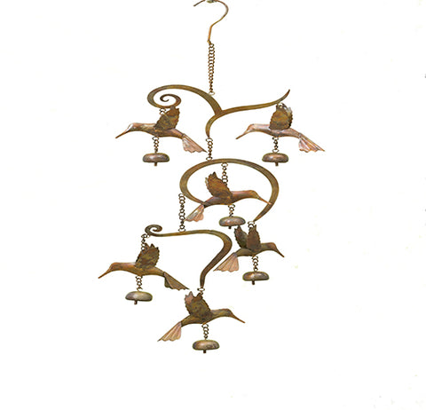 This wind chime features a sculpture of branches of hummingbirds hanging over bells.