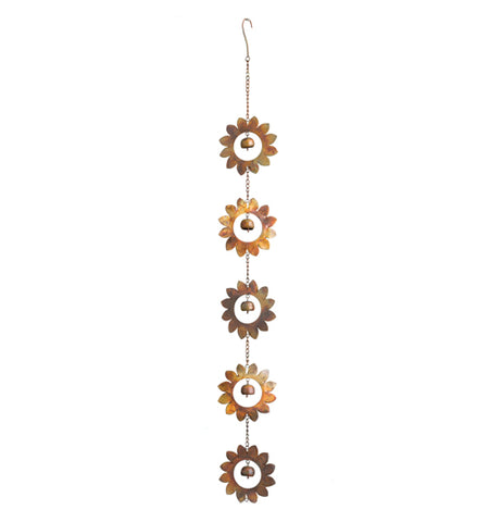 Flamed flower garden ornament with 5 metal flowers that have a bell in the center.