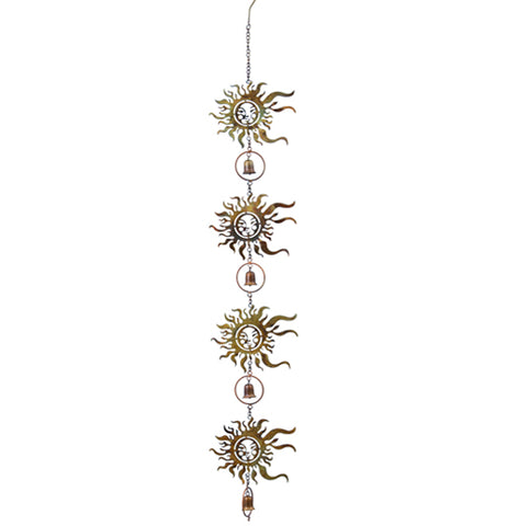 The Sun Faced Hanging Ornament features suns and bells hanging on a Chain and each of the suns have faces on them.