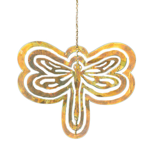 This is a golden-colored metal cutout in the shape of a dragonfly hanging by a small golden chain.