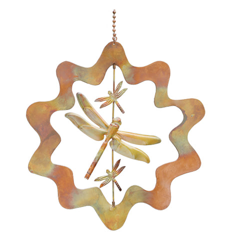 This ornament is made out of copper, it shows dragonflies flying in the wind