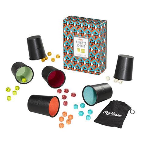 Liars dice game with six different colored cups and dice with black and white bag and blue, orange, white, and black box on a white background.