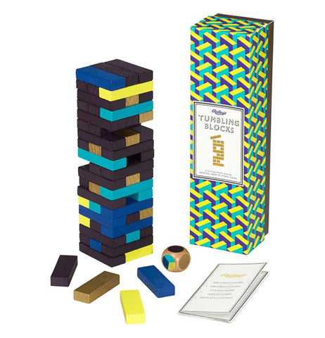 "The ""Tumbling Blocks"" Game features black, yellow, teal, blue, and gold blocks with package box and a dice on the right."