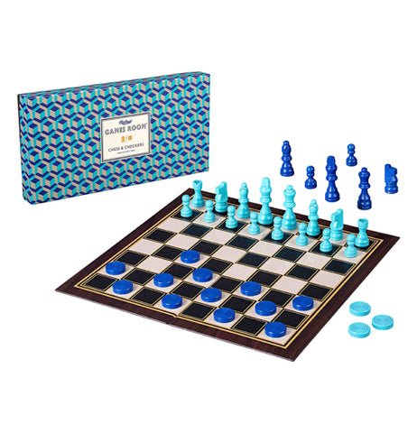 "This black and white board sports light blue chess pieces and dark blue checkers pieces. Its blue box sits behind it with a white sign on it. On the white sign are the words, ""Ridley's Games Room Chess and Checkers"" in black lettering."