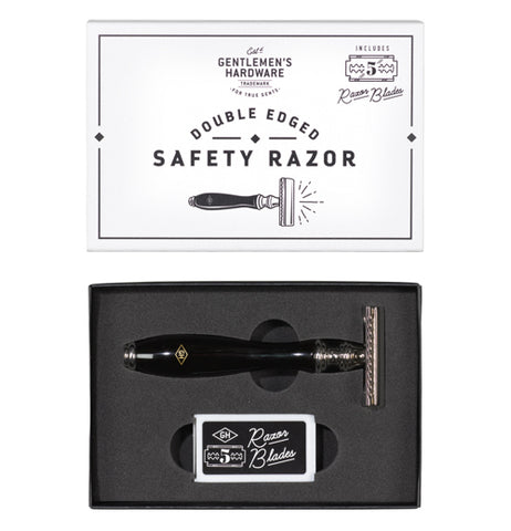 "Razor in box with five replacements. The top of box features ""Double Edged Safety Razor"" in black with a white background."