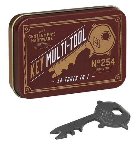 "A red, white and gold tin with gray ""Key"" Multi-Tool by Wild and Wolf."