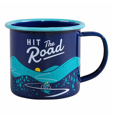 "The Enamel ""Bicycle"" Mug features a beautiful blue background that reads, ""Hit the Road"" along with a bicyclist riding down a road."