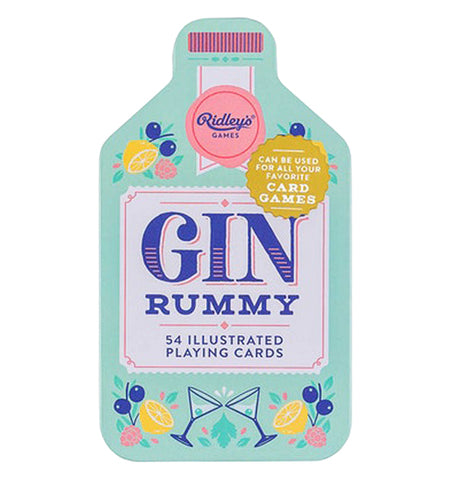 "The ""Gin Rummy"" Playing Cards has a container that looks like a shaped bottle with lemons, raspberries, and blueberries on a blue background."