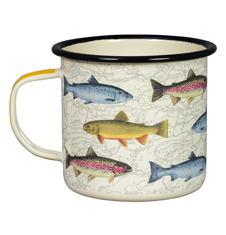 "The ""Fish"" Enamel Mug features a design of different kind of freshwater fish over a map background."