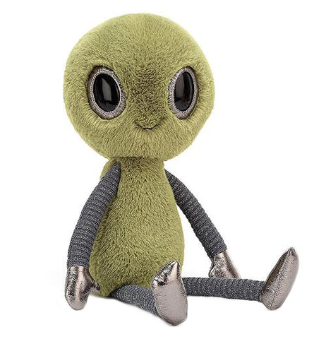 A green and gray plush alien toy is sitting and angled to the right.