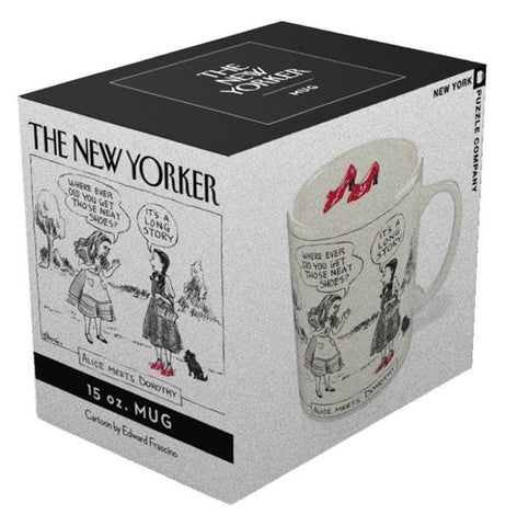 The cup featuring Dorothy and Alice is shown in its box, which has an image of the mug on one side, and an image of the two girls on the other.