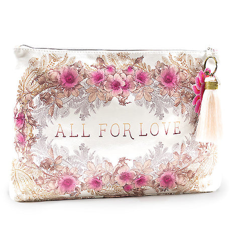 "This ""All for Love"" Tassel Pouch is decorated with a floral print with the message ""All for Love"" in the center."