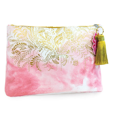 This pink watercolored pouch with a golden tassel hanging from its zipper is covered with a design of golden leaves from its top down to its middle.
