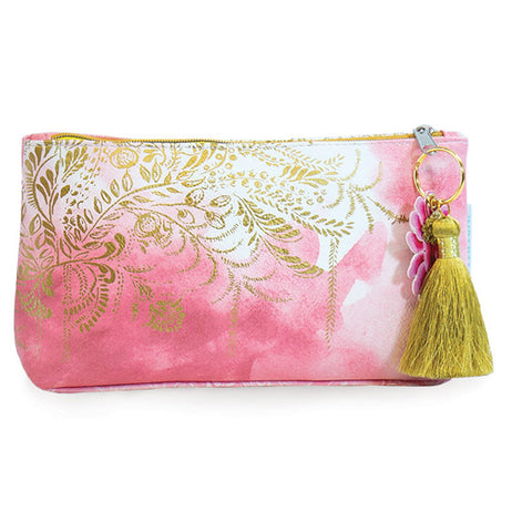 "The Small ""Blush Watercolor"" Tassel Pouch features gold foil plant design blended over the pink watercolor background."