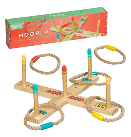 The hoopla game is shown with two of its rope rings off the poles.