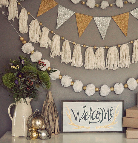 "Box Sign, Glitter ""Welcome"""