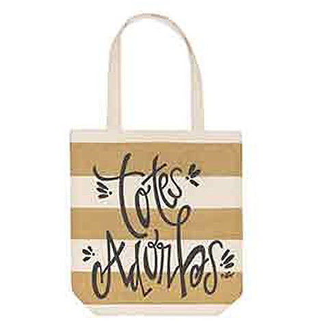 "Gold and White striped canvas bag that says ""Totes Adorbs"""