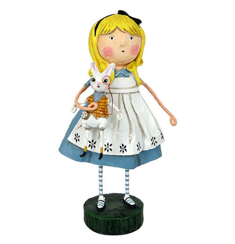 Alice In Wonderland Figurine Holding A White Rabbit