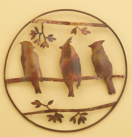 "The Waxwing Wall Decor 16 inch ""Cedar"" lies on  the yellow background."
