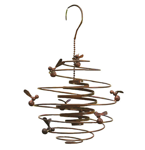 "This Double Spiral ""Bees"" Garden Hanger has a wire frame sculpture of a beehive surrounded by bees."