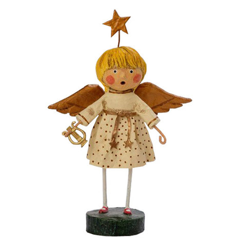 This angel figurine is shown wearing a white robe with copper colored wings. She holds a golden harp with a star halo on her head.
