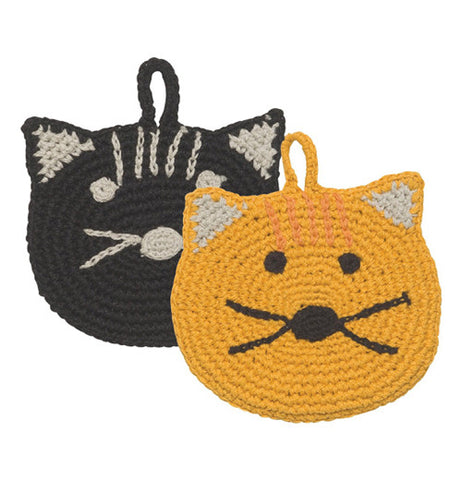 Calvin Cat Tawashi Animal Scrubbers with Black and Orange faces