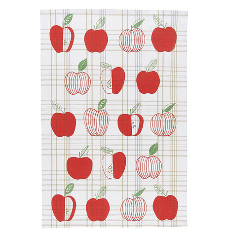 Cream colored dish towel with red apples printed on.