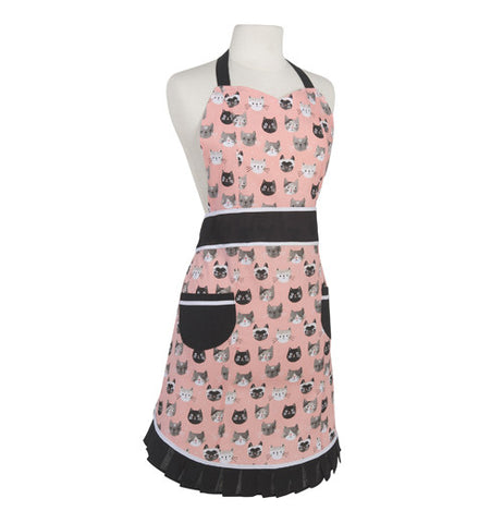 The pink apron has brown outlines and different cats on it.