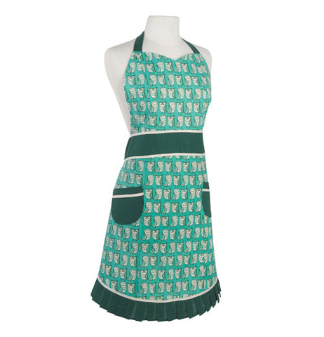 This green apron is outlined in dark green with owls on it.