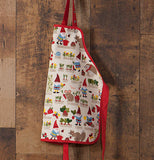 A kid's Gnome Sweet Gnome apron is hanging on a wooden wall.