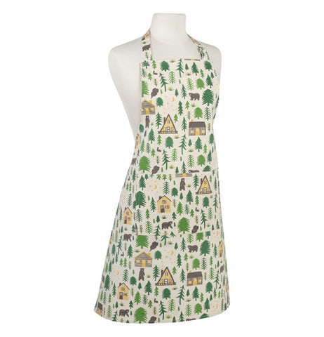 Apron with images of wildlife, nature, cabins, and camp grounds.